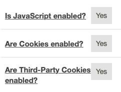 Als jouw browser alle cookies accepteert, dan staat alles op Yes.